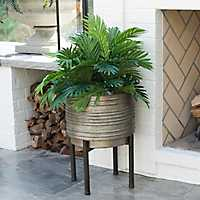 Round Iron Planter with Metal Legs