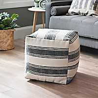 Charcoal Stripe Dhurrie Pouf
