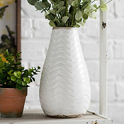 White Chevron Ceramic Vase, 11 in.