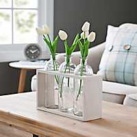 Triple Glass Bottle Vase Runner Set