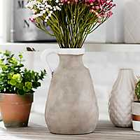 Natural Ceramic Jug Vase, 9 in.