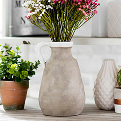 Natural Ceramic Jug Vase, 9 in.