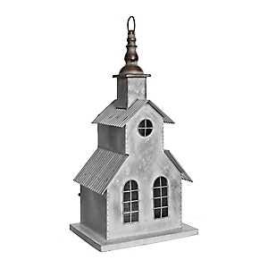 White Galvanized Metal Church Figurine