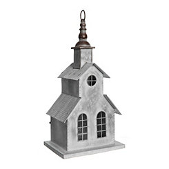 White Galvanized Metal Church Figurine