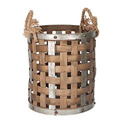 Round Wood and Metal Woven Basket with Handles