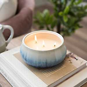Fresh Linen Blue Drip Ceramic Candle
