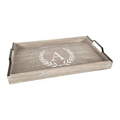 Whitewashed Laurel and Monogram A Wood Tray