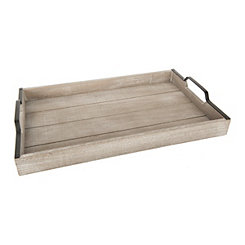 Whitewashed Wood Slat Tray