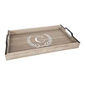 Whitewashed Laurel and Monogram C Wood Tray