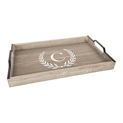 Whitewashed Laurel and Monogram C Wood Tray