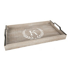 Whitewashed Laurel and Monogram K Wood Tray