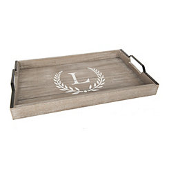 Whitewashed Laurel and Monogram L Wood Tray