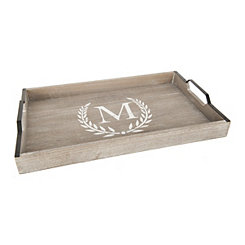 Whitewashed Laurel and Monogram M Wood Tray