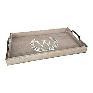 Whitewashed Laurel and Monogram W Wood Tray