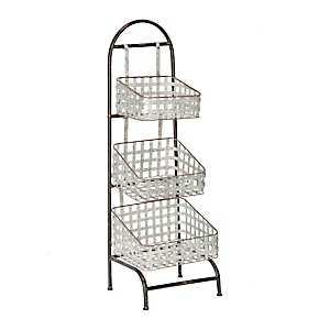 Galvanized Woven 3-Tier Metal Basket Shelf