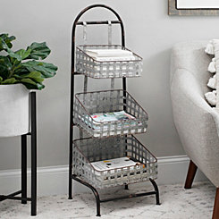 Galvanized Woven 3-Tier Metal Basket Shelf