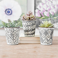 Distressed Mini Iron Buckets, Set of 3