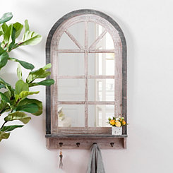 Black and White Arch Mirror with Shelf and Hooks
