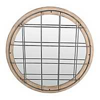 Round Natural Grid Wall Mirror