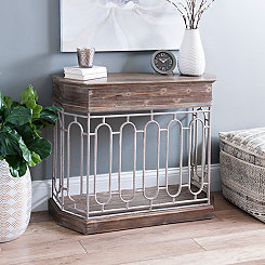 Harper Oval Wood and Metal Console Table