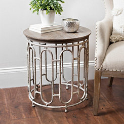 Harper Round Wood and Metal Accent Table