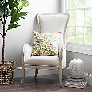 Ivory Linen Wing Back Accent Chair
