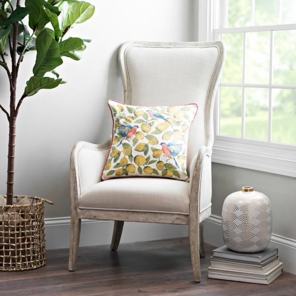 Bon Ivory Linen Wing Back Accent Chair