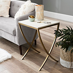 White and Gold Curved Side Table