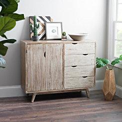 Mid-Century 4-Drawer Wood Cabinet