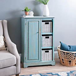 Turquoise Cabinet with Seagrass Baskets