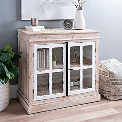 Natural Window Cabinet with Antique Hardware