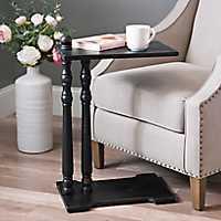 Black Wood C Table with Spool Legs