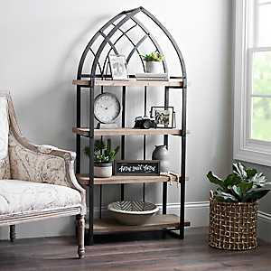 Natural Wood Shelf with Black Metal Arch Frame