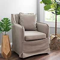 Tan Carter Canvas Accent Chair
