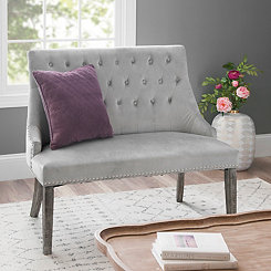 Gray Velvet Tufted Back Settee