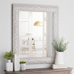 White Bark Framed Wall Mirror, 29.4x35.4 in.