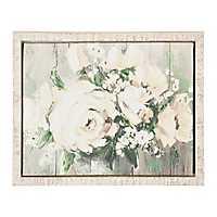 White Flower Garden Framed Canvas Art Print