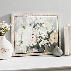 White Flower Garden Framed Canvas Art Print