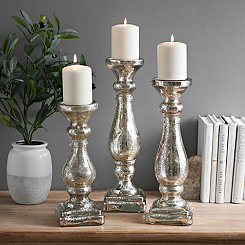 Silver Mercury Glass Candlesticks, Set of 3