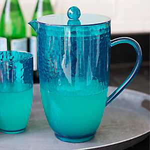 Turquoise Hammered Pitcher