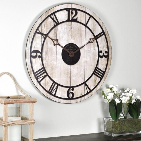 reclaimed whitewash wall clock