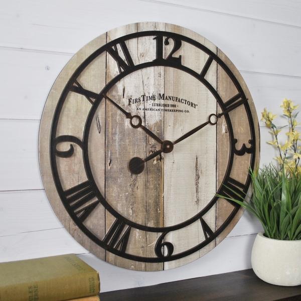faux barnwood wall clock