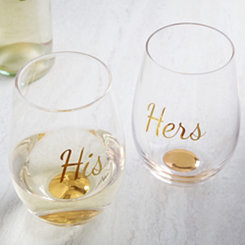 His and Hers Stemless Wine Glasses, Set of 2