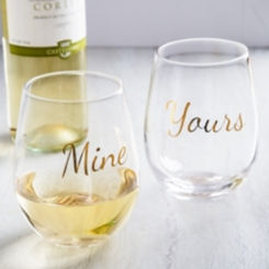 Yours and Mine Stemless Wine Glasses, Set of 2