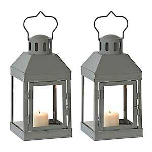 Mini Gray Metal Lanterns, Set of 2