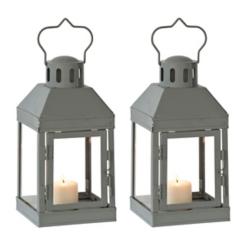 Mini Gray Metal Lanterns, Set of 2