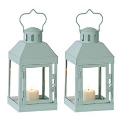 Mini Turquoise Metal Lanterns, Set of 2