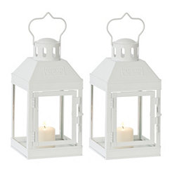 Mini White Metal Lanterns, Set of 2