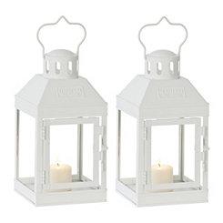 Mini White Metal Lanterns, Set of 2