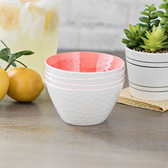 Coral Hammered Cereal Bowls, Set of 4